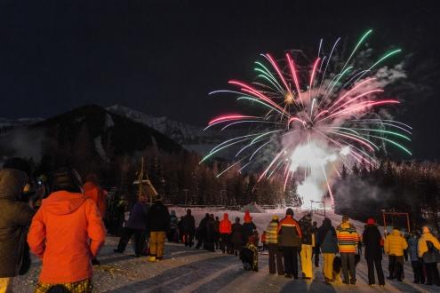 New Years Fireworks, Fernie Alpine Resort - 31 December 2014