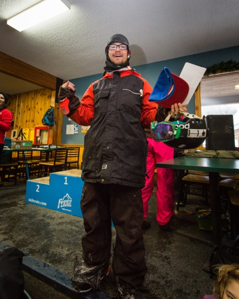 Kinky Rail Jam- Fernie Alpine Resort - 10 January 2015, John Graham turned up late to pick up his 2nd Place prize in the 16+ Mens Snowboarding Category.