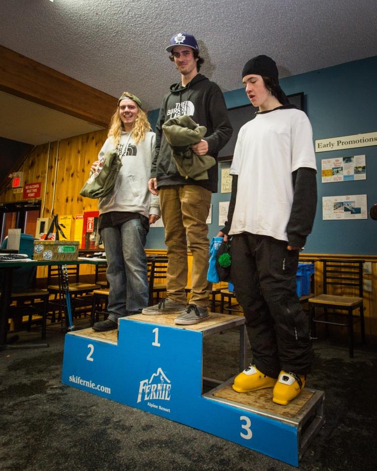 Kinky Rail Jam- Fernie Alpine Resort - 10 January 2015. Men's 16 & Over Ski; 1st Brody Mcskimming, 2nd Zak Mousseau, 3rd Calvin Lovenuik